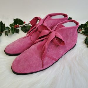 Vtg 80s KEDS Essentials Pink Suede Chukka Booties